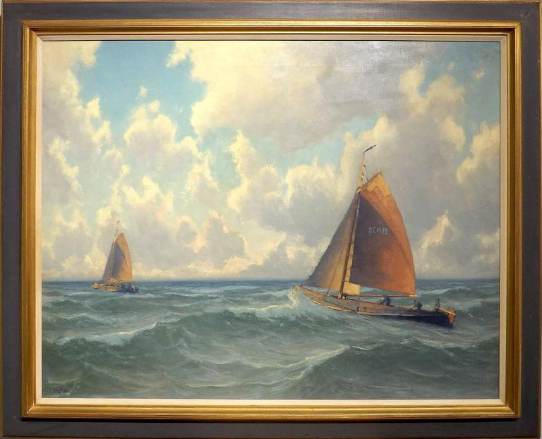 Two Dutch fishing boats ('Bomschuiten') are returning home from a long day fishing in this marvelous painting by nautical painter Henk Dekker (1897 - 1974). White fluffy clouds contrast with the blue sky and the seafoam green of the waves.