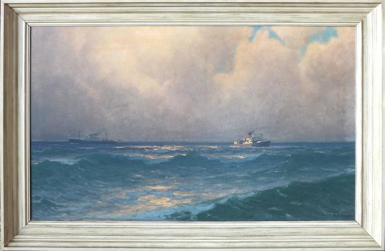 Two tramp freighters passing each other on the open ocean, far away from shore. The low sun casts sparkling reflections off the sea-green water. Thick pillow clouds are slowly clearing off to a brilliant blue sky.  Dekker was known for painting