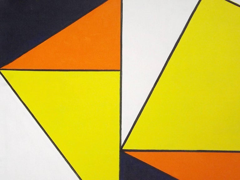 Dark purple offsets the bright contrasting colors in geometric figures painted by the Dutch artist Johanna 'Hannie' Bal (1921 - 2012), most likely inspired by her fellow countryman Piet Mondrian. Titled 'Schuin Vierkant' (Slanted Square), signed and
