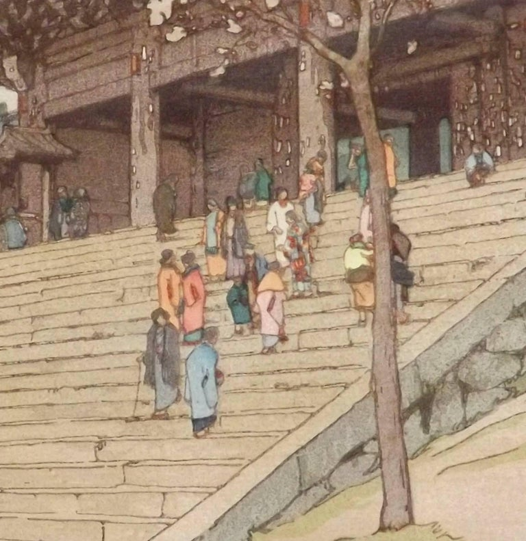 A wonderful woodblock print of Chion-in temple gate by the famed Japanese artist Hiroshi Yoshida (1876 - 1950). Signed in pencil bottom right, image dimensions are 14 3/4 inches tall by 9 1/2 inches wide.