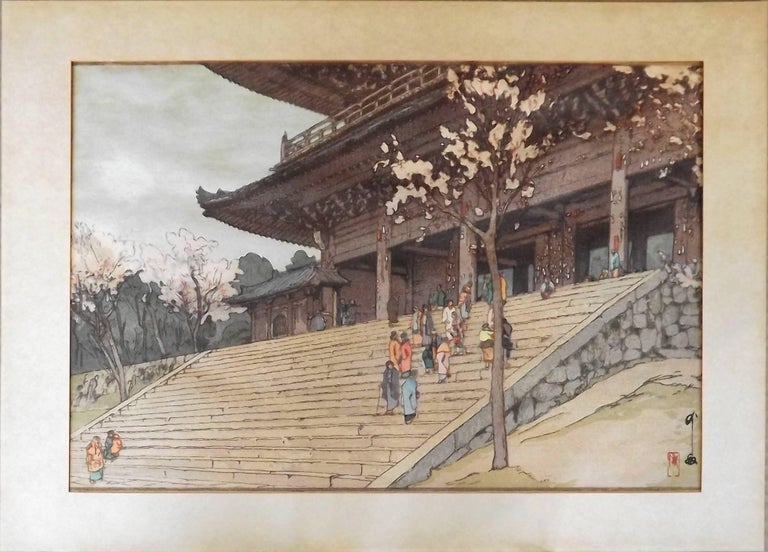 Showa Japanese Woodblock Print of Chion-In Temple Gate by Hiroshi Yoshida For Sale