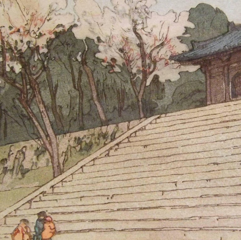 Japanese Woodblock Print of Chion-In Temple Gate by Hiroshi Yoshida In Good Condition For Sale In Charlevoix, MI