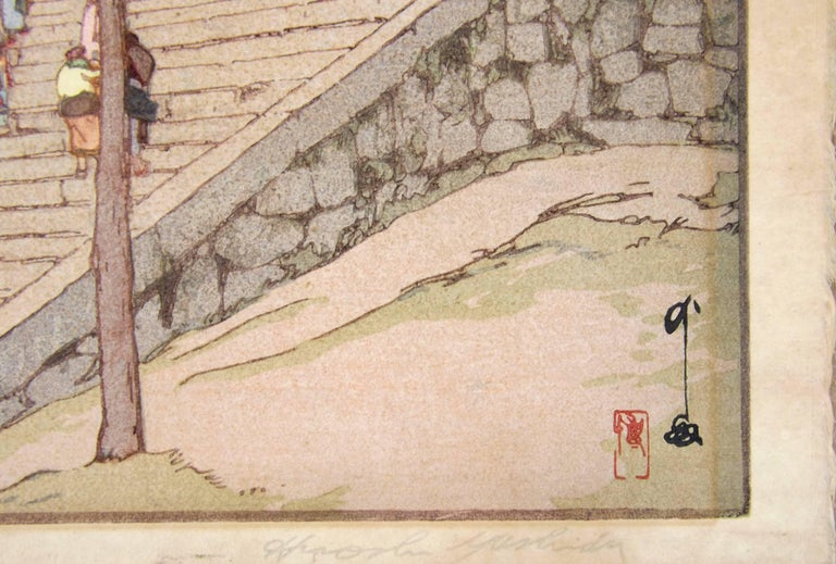 20th Century Japanese Woodblock Print of Chion-In Temple Gate by Hiroshi Yoshida For Sale