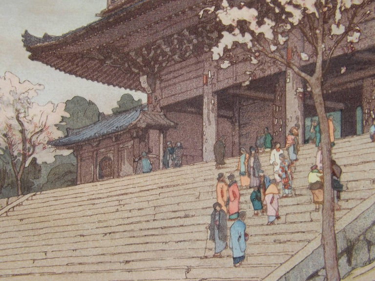 Paper Japanese Woodblock Print of Chion-In Temple Gate by Hiroshi Yoshida For Sale