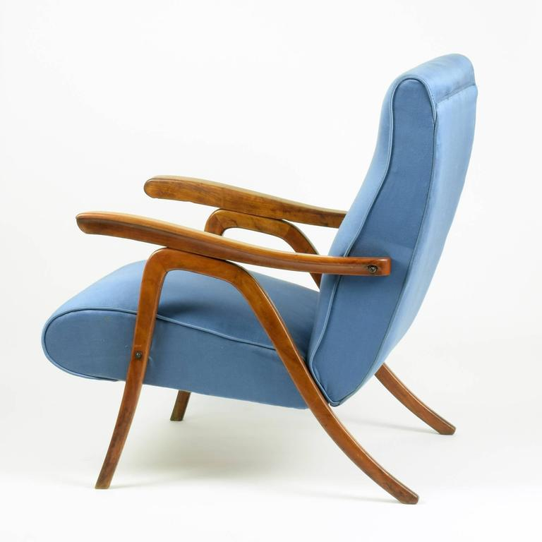 Mid-Century Modern School of Carlo Mollino, Pair of Reclining Armchairs, circa 1955 For Sale