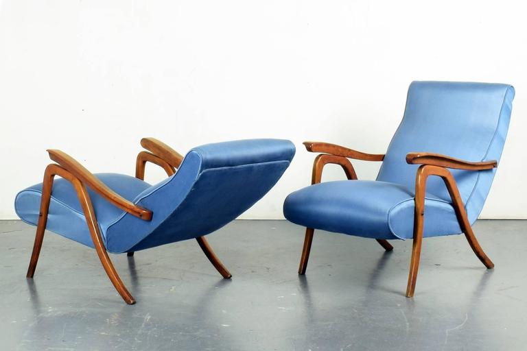 Mid-20th Century School of Carlo Mollino, Pair of Reclining Armchairs, circa 1955 For Sale
