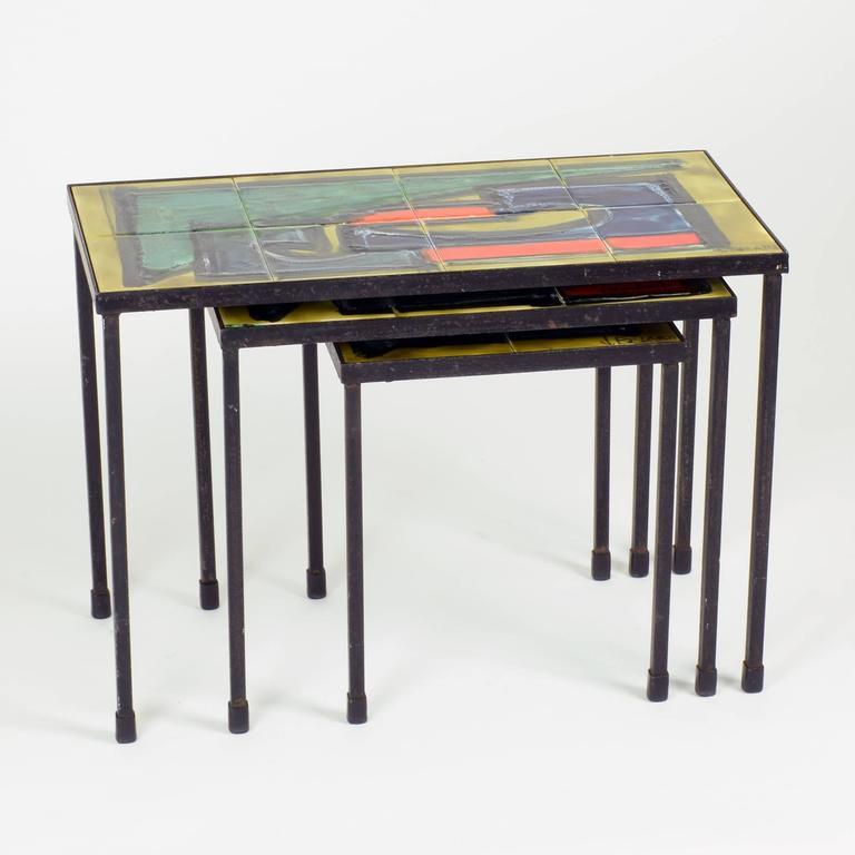 Table Top 1955: J. Belarti, Nesting Tables, Set Of Three, Circa 1955 At