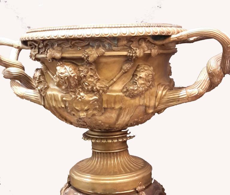 Large french bronze warwick urn with bronze pedestal circa 1880 at 1stdibs - Large decorative vases and urns ...
