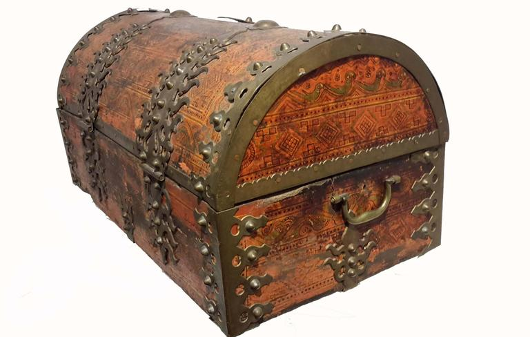 Well-known Large Anglo Indian Malabar Treasure Chest, Brass Fittings circa  WM46