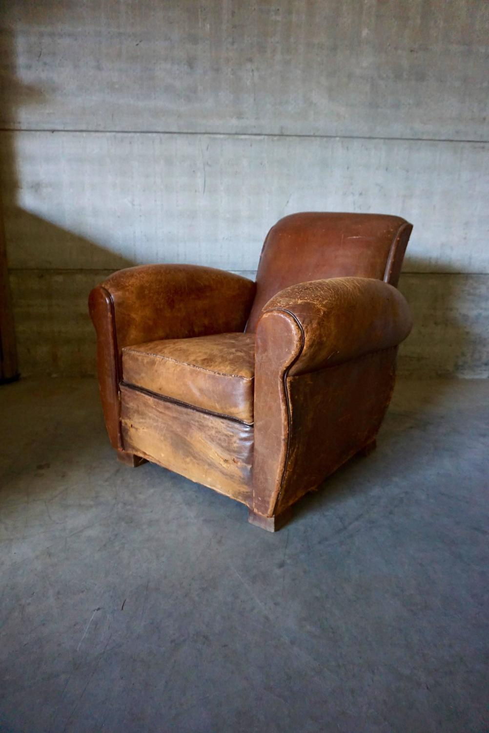 Distressed Art Deco French Cognac Leather Club Chair