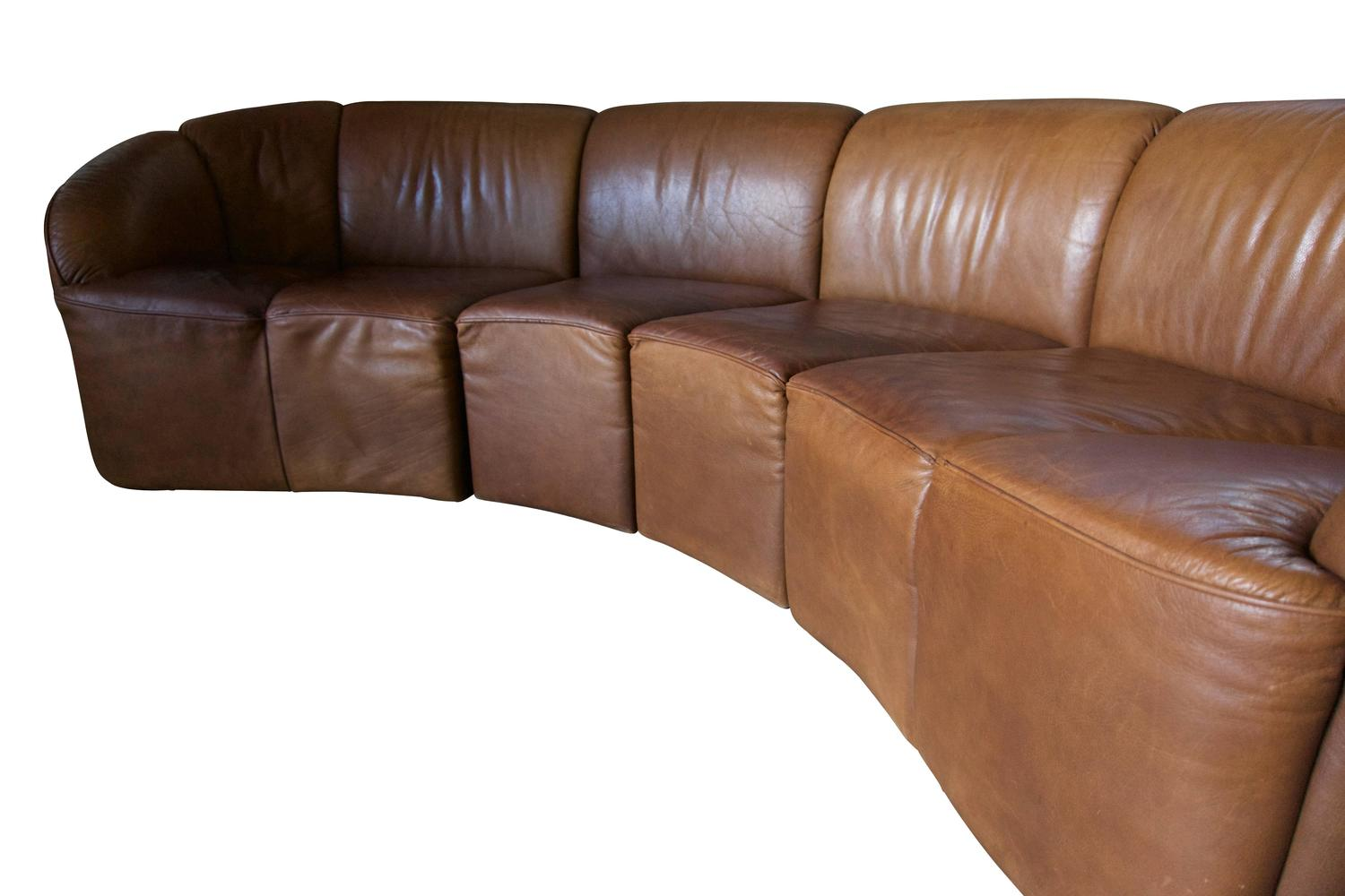 modular cognac leather sofa by knoll international 1970s. Black Bedroom Furniture Sets. Home Design Ideas