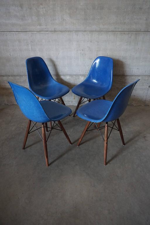 Mid Century Modern Royal Blue DSW Chairs By Charles And Ray Eames, 1950s,