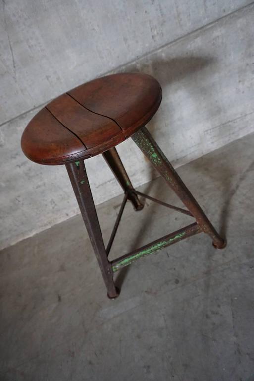 Vintage German Industrial Stool From Rowac At 1stdibs