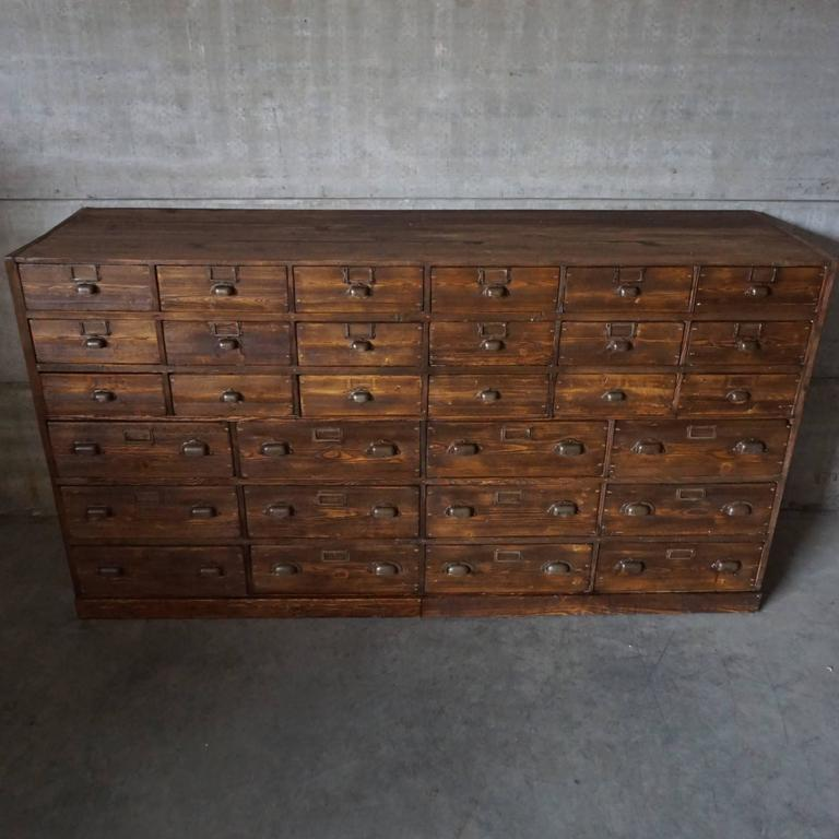 Industrial Vintage Large French Pine Apothecary Cabinet, 1930s For Sale