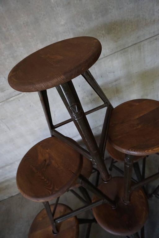 Vintage German Wood And Metal Stool From Rowac 1930s Set
