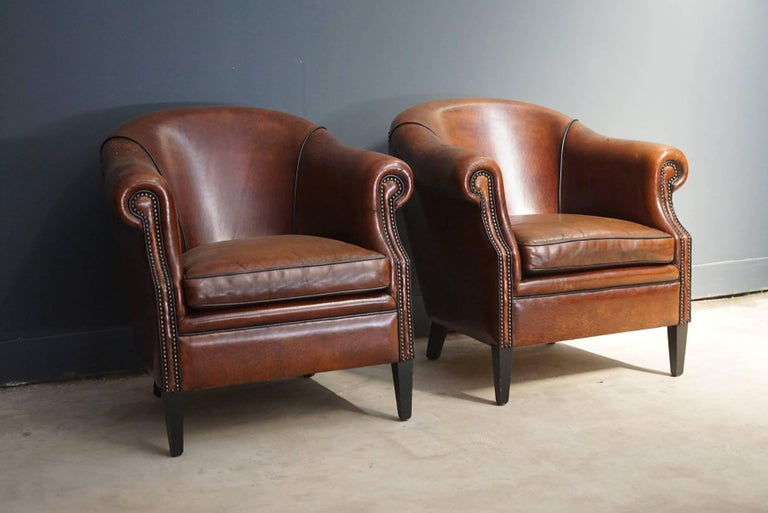 Pair Of Vintage Cognac Leather Club Chairs At 1stdibs