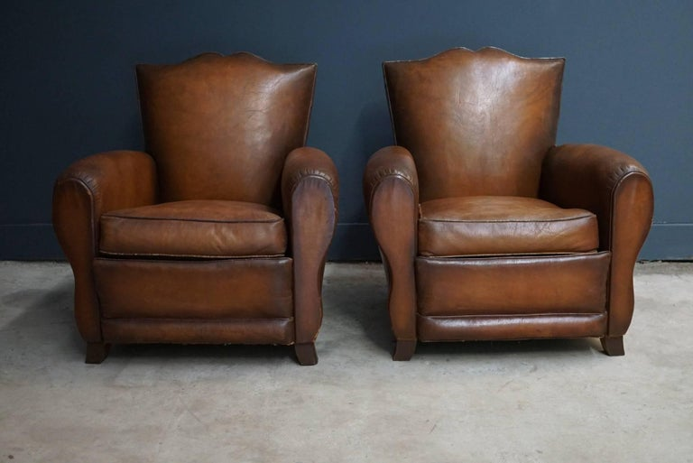 Pair of French Cognac Moustache Back Leather Club Chairs, 1940s For Sale 1