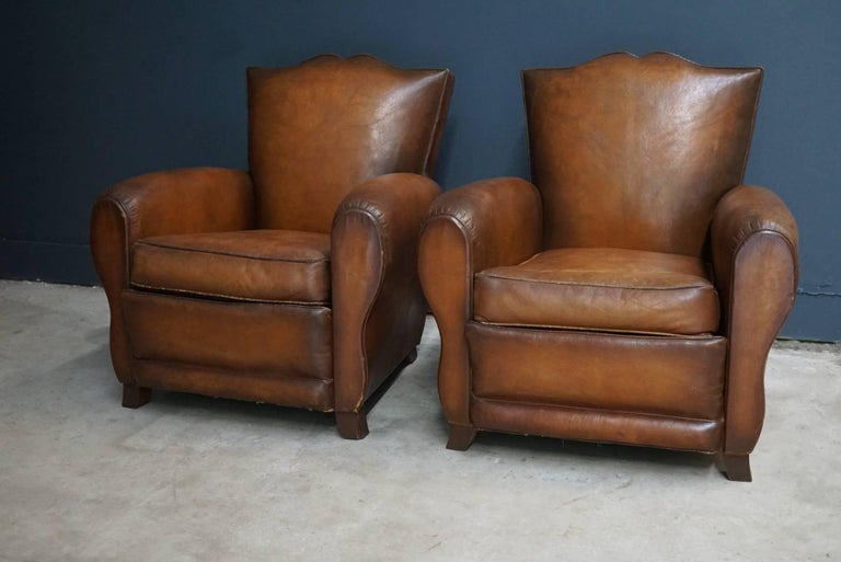 Pair of French Cognac Moustache Back Leather Club Chairs, 1940s For Sale 2