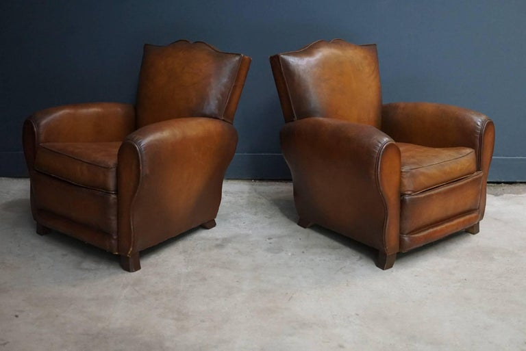 Pair of French Cognac Moustache Back Leather Club Chairs, 1940s For Sale 3