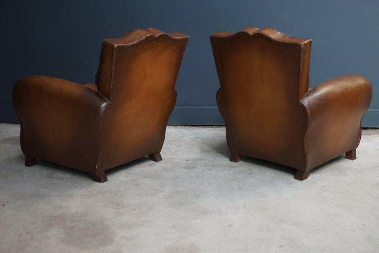 Pair of French Cognac Moustache Back Leather Club Chairs, 1940s For Sale 4
