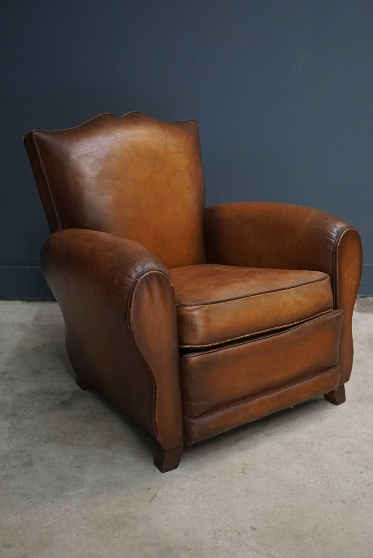 Pair of French Cognac Moustache Back Leather Club Chairs, 1940s For Sale 5