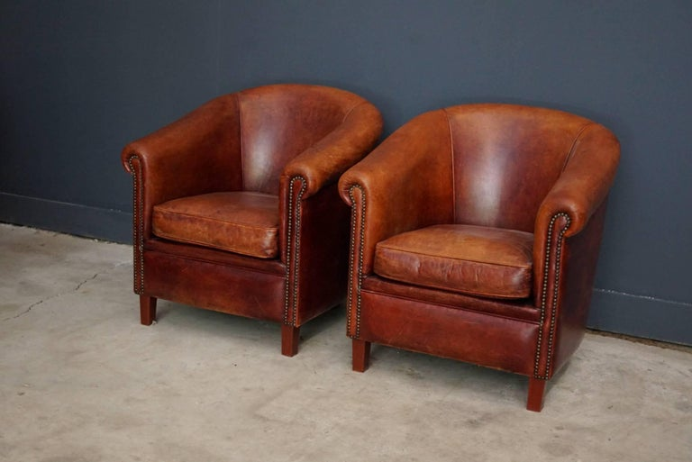 vintage dutch cognac leather club chairs set of two at 1stdibs