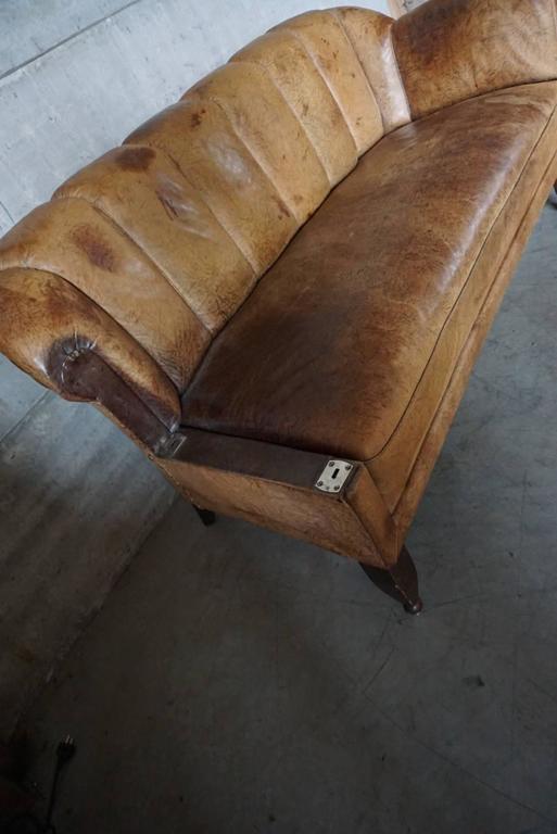 German art deco club sofa or chaise longue 1930s cognac for Chaise longue leather