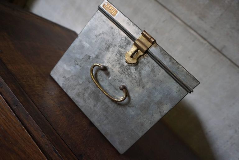 Aluminum Vintage Industrial Safe Box with Brass Details For Sale