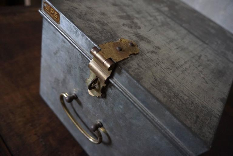 Vintage industrial safe box with brass details made by the company LIPS in the Netherlands mid of the 20th century.