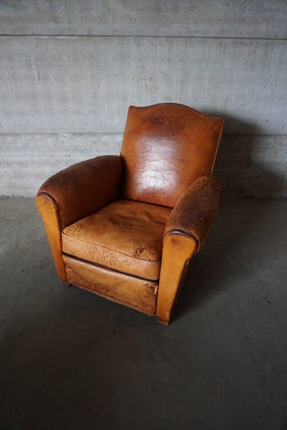 Vintage Distressed Cognac Leather French Club Chair 1930s
