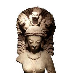 Standing Female Devata with Lions Sculpture