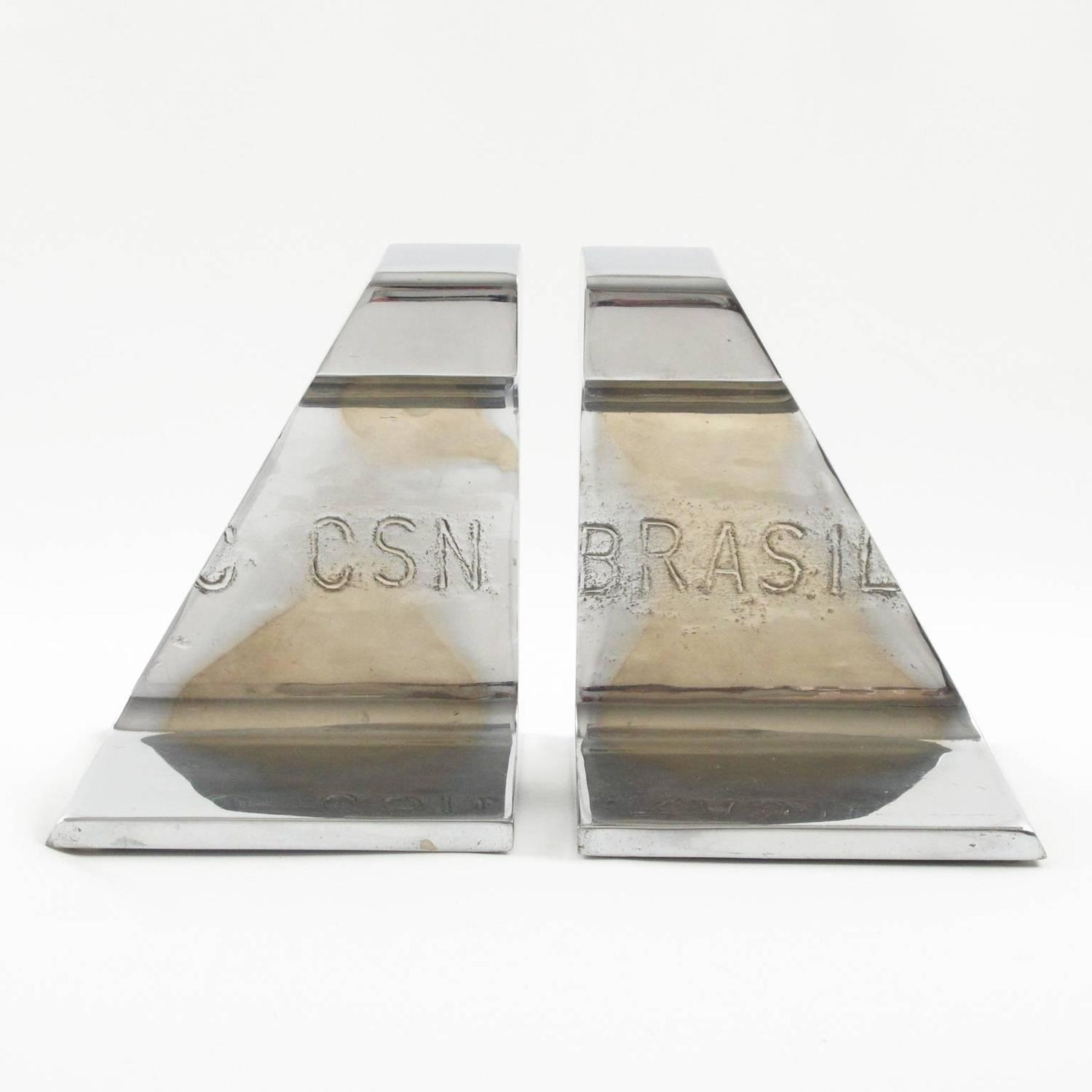 Csn Furniture: Industrial Machine Age Stainless Steel Railroad Bookends