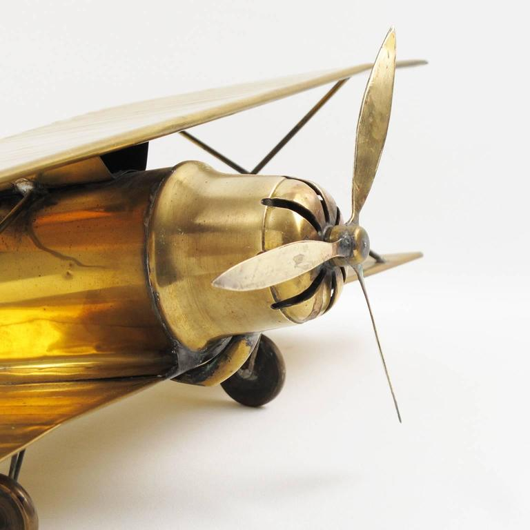 Mid Centruy Modern Large Brass Biplane Airplane Model