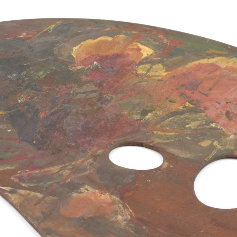 Large Antique French Artist's Painter's Wood Palette 6
