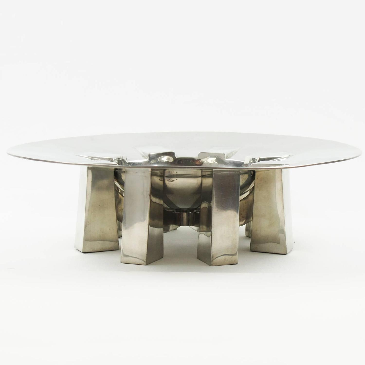 Polished pewter sculptural centerpiece by for int rieur for Interieur france