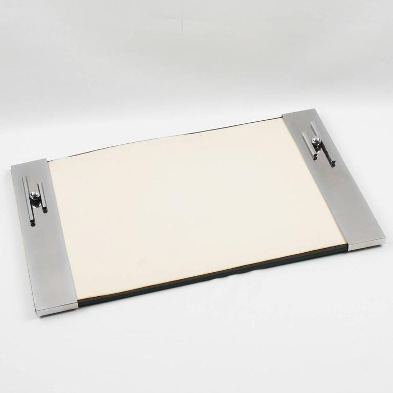 Elegant Vintage Art Deco Modernist Desk Blotter Pad Geometric Dimensional Streamline Chromed Metal Design On