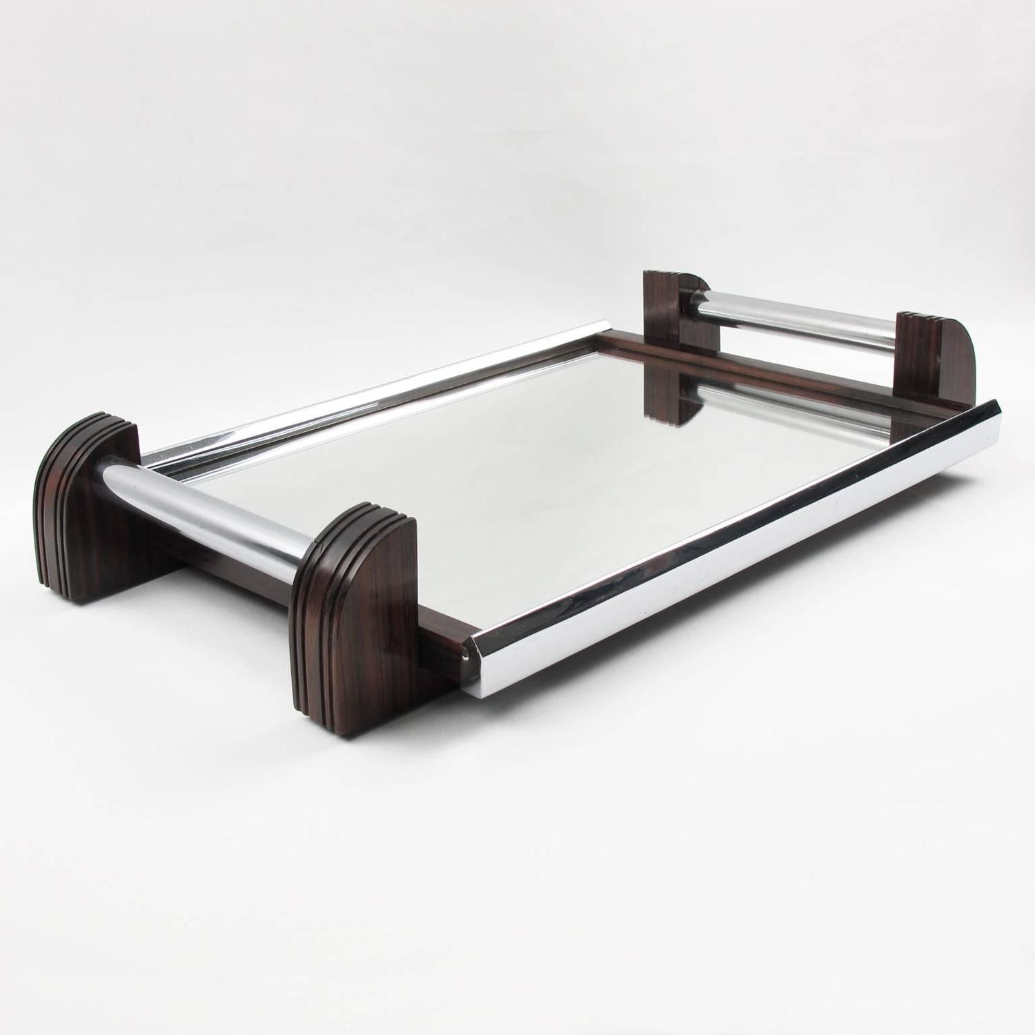 French Art Deco Chrome And Mirror Serving Tray With