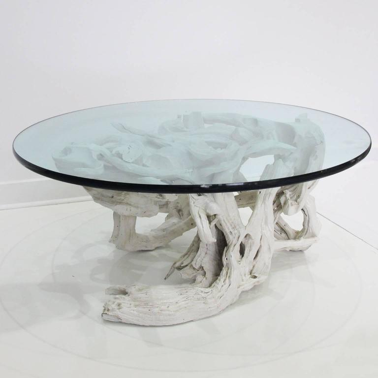 Large Sculptural Driftwood With White Gesso Coffee Table Round Glass Top For Sale At 1stdibs