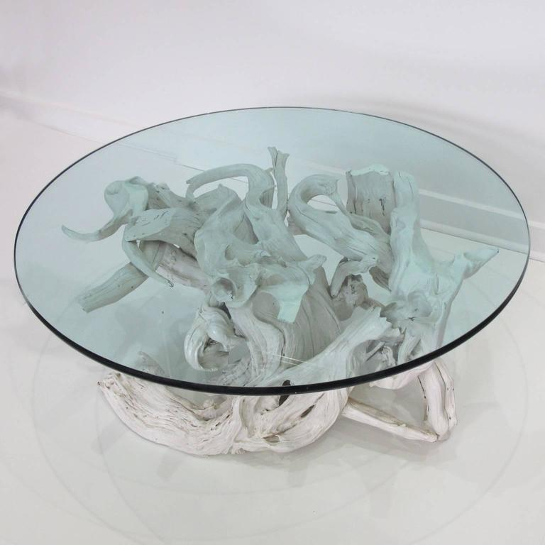 Large sculptural driftwood with white gesso coffee table for Large round glass top coffee table
