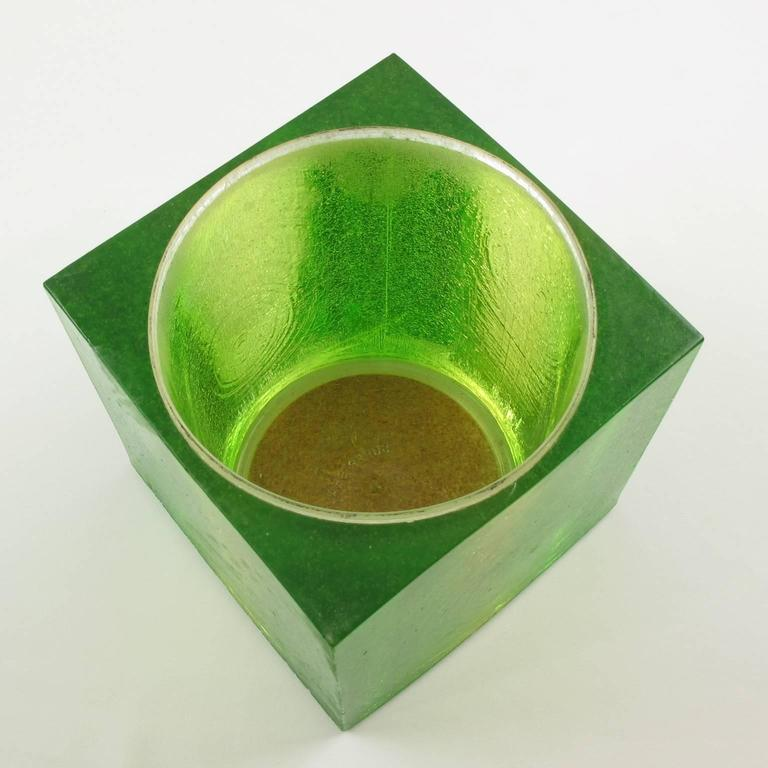 Mid Century Modern Key Lime Green Resin Lucite Barware Ice