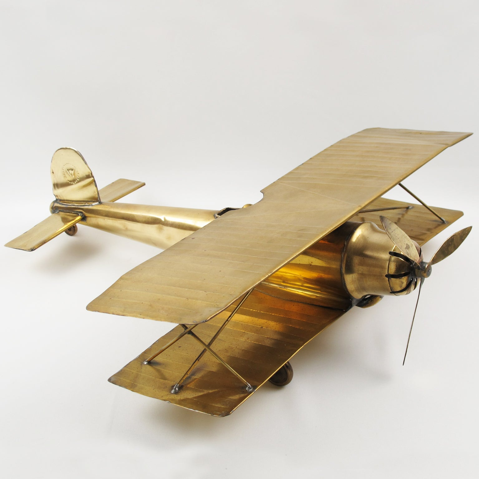 Large World War I Biplane Brass Airplane Model For Sale at 1stdibs
