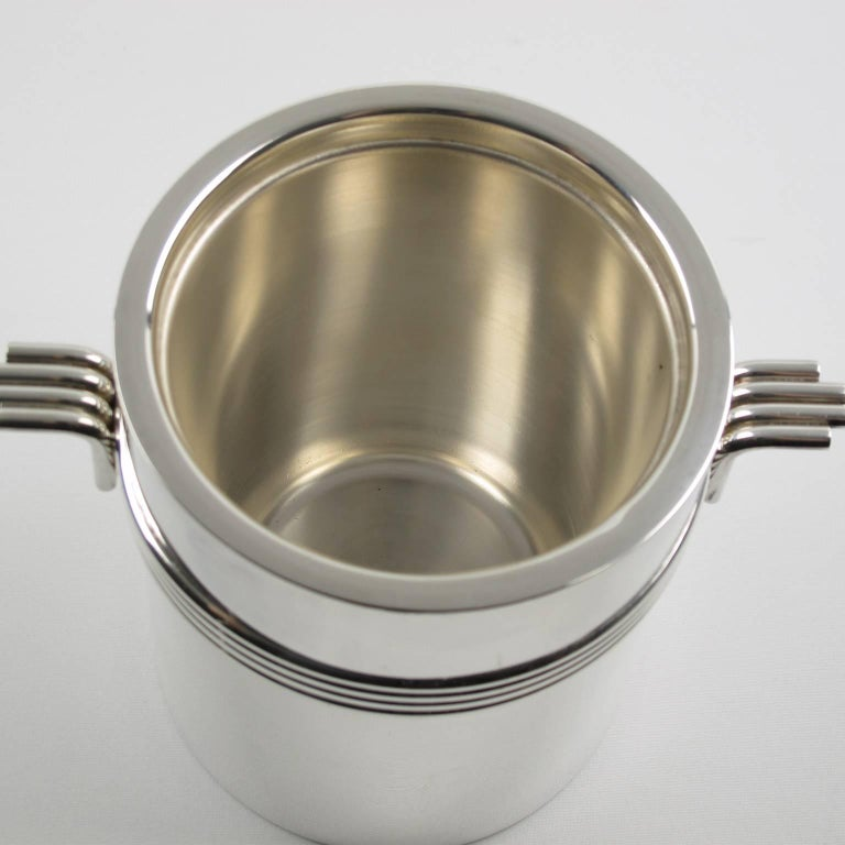 Mid-Century Modern Silver Plate Ice Bucket by Christian Dior, circa 1970s In Excellent Condition For Sale In Atlanta, GA