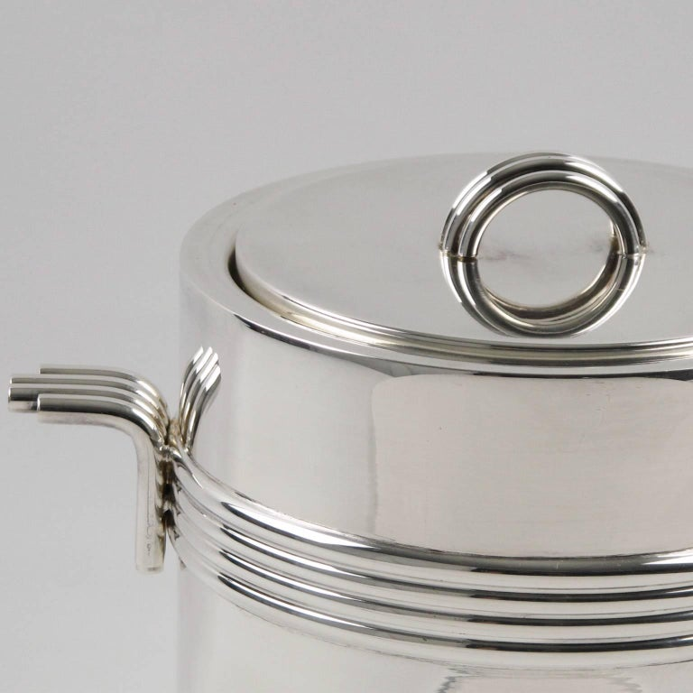 French Mid-Century Modern Silver Plate Ice Bucket by Christian Dior, circa 1970s For Sale