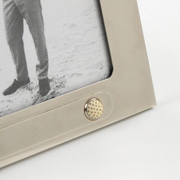 Italian Gucci Silver Plate Picture Photo Frame Golf Ball Design At