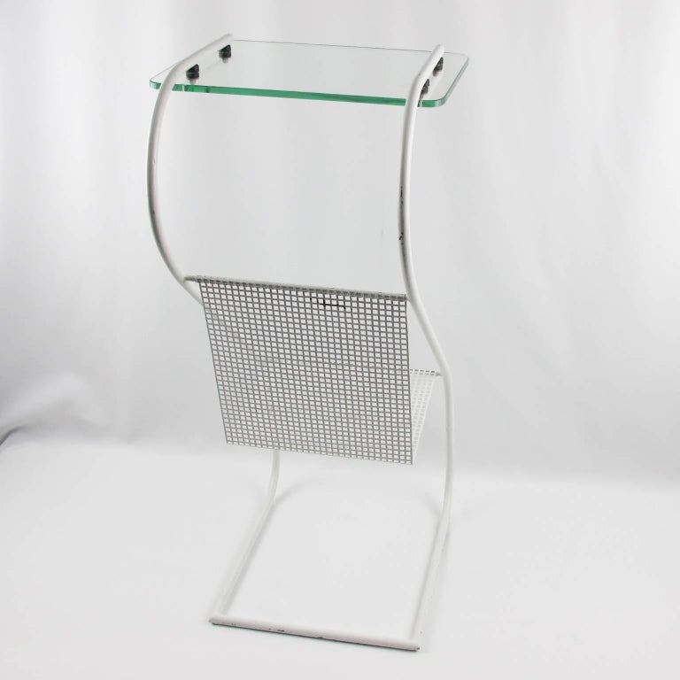 Mid-Century Modern White Metal Side Table and Magazine Rack, France, 1950s 8