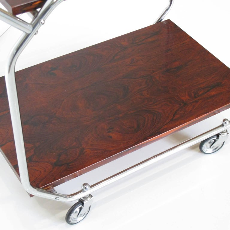 Bauhaus Art Deco Modernist Rolling Bar Cart in Chrome and Rosewood, circa 1930s For Sale 1