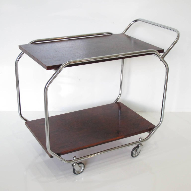 Mid-20th Century Bauhaus Art Deco Modernist Rolling Bar Cart in Chrome and Rosewood, circa 1930s For Sale