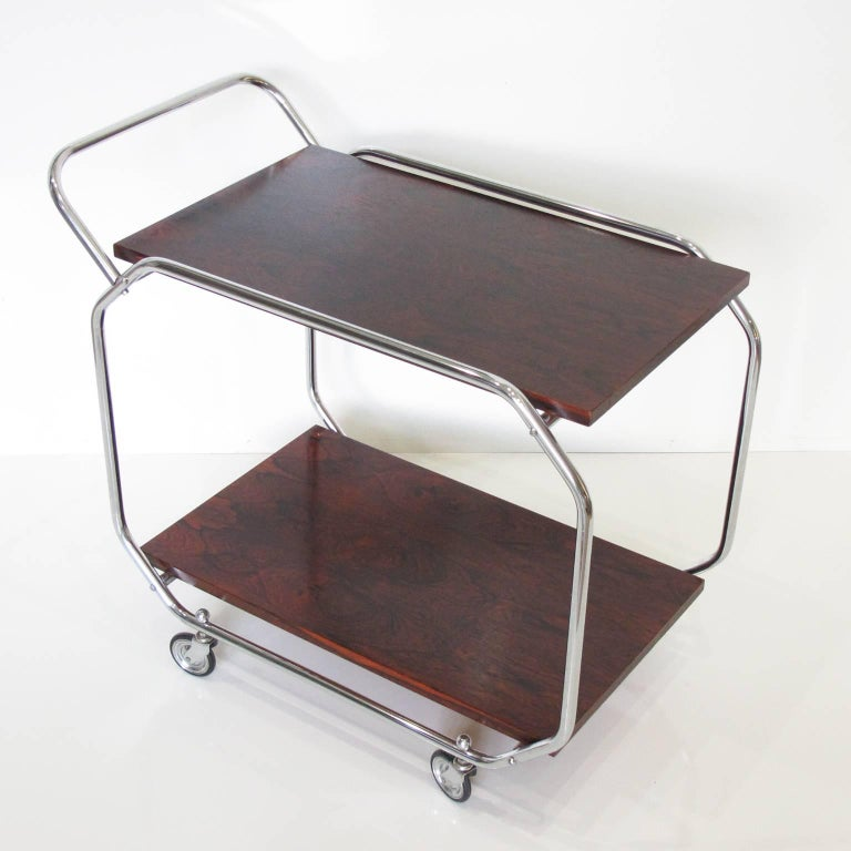 English Bauhaus Art Deco Modernist Rolling Bar Cart in Chrome and Rosewood, circa 1930s For Sale