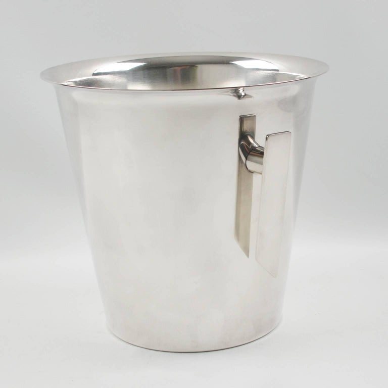 Mid-Century Modern Silver Plate Champagne Bucket Wine Cooler, France circa 1950s 3