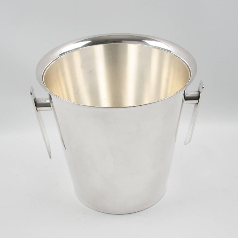Mid-Century Modern Silver Plate Champagne Bucket Wine Cooler, France circa 1950s 2